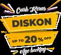 diskon cash keras 20